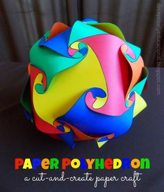 educational and cool for Kids: Relentlessly Fun, Deceptively Educational: Paper Polyhedron (free template included). Art For Kids, Crafts For Kids, Arts And Crafts, Kids Work, Math Crafts, Middle School Art, Art School, High School, School Stuff