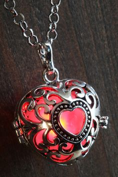 Red Glowing Pendant Necklace heart Locket Silver by CameoAndJuliet