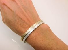 Gold & Sterling Silver Cuffs - Gold and Silver Stacking Cuffs - Gold and Silver Cuff Set - Gold and Silver Cuff Combo Gold Jewelry, Jewelery, Sterling Silver Cuff, 14 Karat Gold, Cuffs, Pure Products, Handmade, Etsy, Fashion