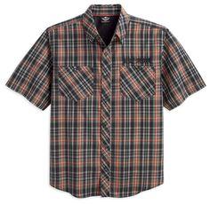 Harley-Davidson® | 99071-12VM | Harley-Davidson® Mens Performance Plaid Plaid Cotton Blend Short Sleeve Woven Shirt