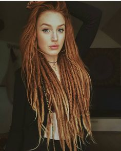 Think I& gonna take the plunge and henna my dreads!- Think I& gonna take the plunge and henna my dreads! Think I& gonna take the plunge and henna my dreads! Dreadlocks Girl, Faux Dreads, Locs, One Dreadlock In Hair, Dreads Women, Dreads Styles, Curly Hair Styles, Pretty Hairstyles, Straight Hairstyles