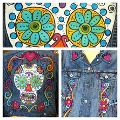 Hand painted Sugar Skull denim Jacket custom painted