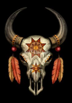 This unique design by artist Jeff Bartels features a decorated Native bull skull. Four bird feathers hang from two small beads that are attached to the horns. A stylized Native sun appears on the skulls forehead giving the pattern a spiritual feel Indian Skull Tattoos, Bull Skull Tattoos, Bull Skulls, Deer Skull Art, Cow Skull Decor, Deer Skulls, Native Art, Native American Art, Painted Animal Skulls