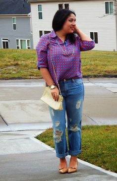 Red Plaid Top and Ripped Denim