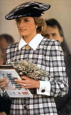 Princess Diana wearing a Catherine Walker black & white check wool dress and a matching beret by Philip Somerville at the Braemar Games, Scotland, September 1989.