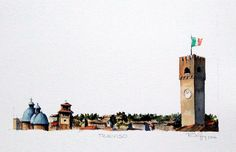 Treviso / Italia - Aquarela sobre papel Hahnemuhle Cezanne 32 x 24cm