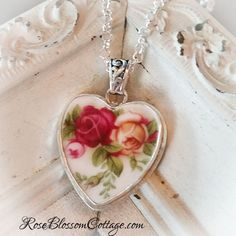 Old Country Roses Royal Albert Red Yellow Rose  Sterling Broken China Jewelry Pendant Necklace, www.RoseBlossomCottage.com