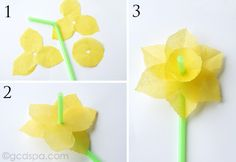 Best New Tissue Paper Flowers For Kids If you are looking for Tissue paper flowers for kids you've come to the right place. We have collect images about Tissue paper flowers for kids includ. Christmas Tissue Paper Flowers And Juice Jar Vase Tissue Paper Paper Flowers For Kids, Tissue Paper Flowers, Diy Flowers, Spring Flowers, Simple Flowers, Easter Flowers, Handmade Flowers, Daffodil Craft, Daffodil Day