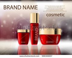 Glamorous face Beauty Care Products Packages on the  sparkling effects background. Mockup 3D Realistic Vector illustration for design, template