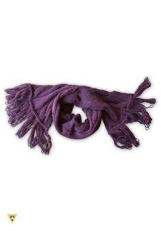 sciarpa in lana mohair con frange anni 60, viola