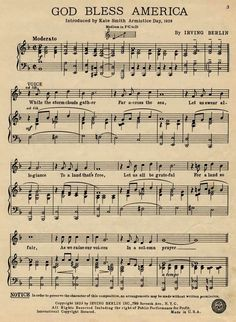 """""""God Bless America"""" vintage sheet music by Irving Berlin. ~ Irving Berlin Inc. NYC, From the Popular American Sheet Music Collection, Department of Special Collections, Miller Nichols Library. Printable Sheet Music, Free Sheet Music, Vintage Sheet Music, Music Sheets, Free Printable, Album Vintage, Irving Berlin, Music Lyrics, Anthem Lyrics"""