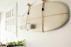 waiting for saturday : jessica barensfeld surf board Surfboard Wall Rack, Surfboard Storage, Surfboard Decor, Surf Decor, Surf Room, Beach Room, Surfer Bedroom, Deco Surf, Surf Style