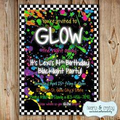 Glow In The Dark Party Invitation / Neon Birthday Invitation / Blacklight Party Invitation / Glow Party Invite - Print Your Own