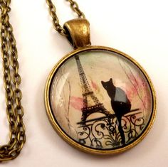 Enchanting necklace with Eiffel tower design and silhouette cat | Jewelry-treasure-chest - Jewelry on ArtFire