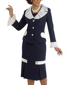 Look what I found on #zulily! Navy & Ivory Skirt & Jacket - Women by Donna Vinci #zulilyfinds