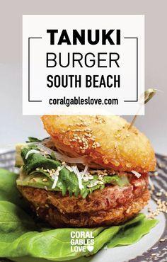 Tanuki Burger from Tanuki South Beach sushi restaurant. Tuna tartar with crispy rice buns. Miami restaurants