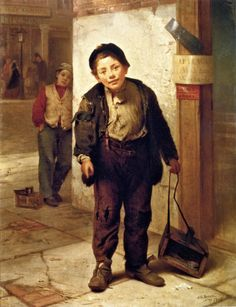 """The Bootblack"" (1866), by English-born American artist - John George Brown (1831-1913), Oil on canvas, 48.26 x 35.56 cm. (19 x 14 in.), Private collection."
