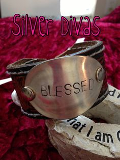Blessed vintage cuff spoon bracelet with recycled western leather belt $30. Find us on Facebook at www.facebook.com/SilverDivas