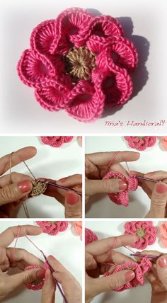 Today I'm showing you another beautiful tutorial of a crochet flower. This crochet flower is perfect for you home decoration or to add to your crochet hats, hair clips or bags. This crochet flo. - Crochet and Knit Crochet Puff Flower, Crochet Flower Tutorial, Crochet Flower Patterns, Crochet Flowers, Knitting Patterns, Crochet Ideas, Crochet Motifs, Crochet Stitches, Crochet Crafts