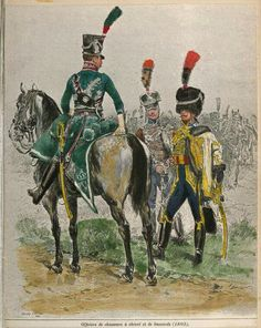 Mounted officer of the chasseur a cheval, taking with an officer of the 2nd Hussars and an officer of the 5th Hussars