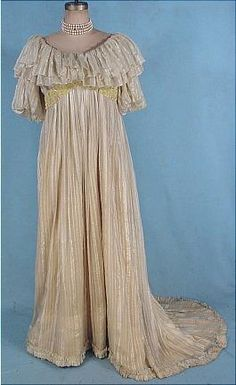 c. 1892 Rare LIBERTY & Co., London Ecru Satin Striped Gauze Trained Ballgown