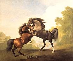Famous Equestrian Paintings | painting of two horses attacking each other
