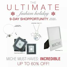Day 1 of the 9 day Shopportunity Event going on. Visit my page or site through the 10th and see what's new.  Shop under the November party to have your name entered into a drawing for a Miche prize.  Visit my site  https://sandrasgotmy.miche.com some of these items were only available to reps, these will make great stocking stuffers.