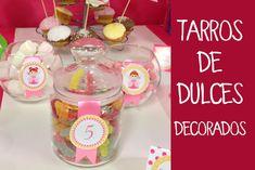 Decoración de fiestas infantiles: Decoración de botes de cristal para du...