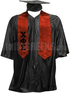 Red Chi Phi Sigma satin graduation stole with the Greek letters down the right panel.