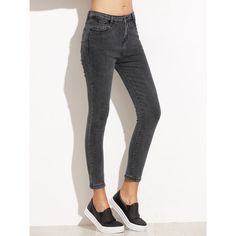 SheIn(sheinside) Black Skinny Ankle Jeans ($19) ❤ liked on Polyvore featuring jeans, pants, button fly jeans, denim jeans, skinny jeans, skinny leg jeans and super skinny jeans