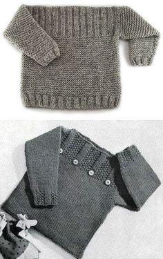 Free Baby Sweater Knitting Patterns, Knitting For Kids, Easy Knitting, Knit Patterns, Free Childrens Knitting Patterns, Baby Boy Sweater, Baby Sweaters, Creations, Knits