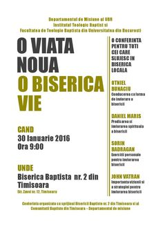 The first conference will take place on January 30, 2016 in Timisoara @ 2nd Baptist Church! #newlifelivingchurch