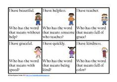I Have Who Has Suffixes classroom, idea, literaci, havewho, prefix, phonic, grade, languag, educ