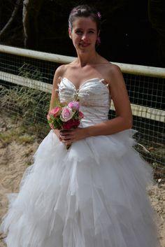 Robe de mariée en mouchoirs de tulle Mariage en Rose; 2015.