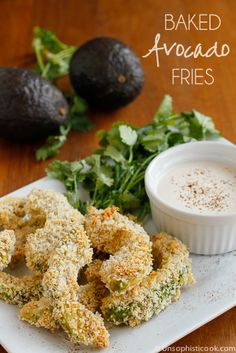 Baked Avocado Fries -- serve these yummy baked avocado fries while they're still warm, creamy and delicious, preferably with a spicy chipotle cream sauce on the side!