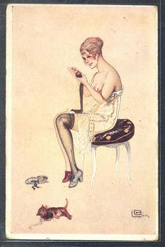 QL041 ART DECO a/s LEONNEC RISQUE EROTIC LADY LINGERIE STOCKING CAT