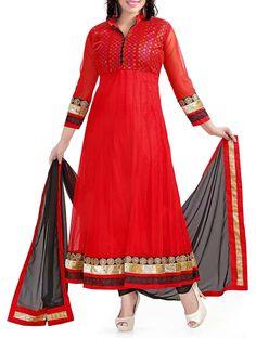 Pleasing Red Embroidered Anarkali Salwar Kameez. #salwarkameez #anarkalisalwarkameez #anarkalisuits