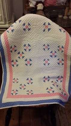 Vintage Hand Stitched Pink and Blue Crib Quilt by BabyBAntiques on Etsy