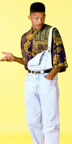 "Retro Fashion Will Smith as Will ""The Fresh Prince"" Smith - Photo of He can still rock a fresh pair of overalls and printed shirt. 80s Fashion Men, 1980s Fashion Trends, Hip Hop Fashion, Grunge Fashion, Retro Fashion 80s, 90s Fashion Overalls, 80s Fashion Party, 80s Fashion Style, Black 90s Fashion"