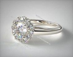 14K White Gold Finish Round Cut Diamond Flower Fashion Engagement Ladies Ring  #br925silverczjewelry #Solitaire #EngagementWeddinganniversaryPartyDailyWear