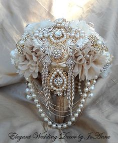 Gold and Ivory Brooch Bouquet Gatsby Style by Elegantweddingdecor