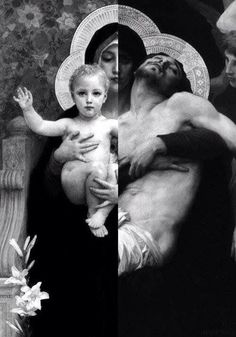 "They are two paintings fused in one of the Painter ""William-Adolphe Bouguereau"". The one of Christ of Child is called ""The Vierge au Lys (The Virgin of the Lilies)"" The one of Christ died on the cross is called ""Pieta"" Catholic Memes, Catholic Art, Roman Catholic, Religious Art, Blessed Mother Mary, Blessed Virgin Mary, Immaculée Conception, William Adolphe Bouguereau, Queen Of Heaven"