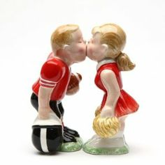 """Football Player and CheerleaderMagnetic Ceremic Salt and Pepper Shakers by Attractives. $14.98. Ceremic. Brand new - gift boxed. 4"""" tall. Collectible high quality ceremic S shaker"""