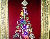 Vintage Jewel collage Christmas Tree