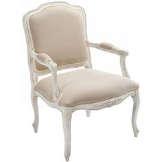 Classic French Shabby Chic Chair ($1,295) ❤ liked on Polyvore featuring home, furniture, chairs, hand carved chair, hand carved furniture, floral chair and floral furniture