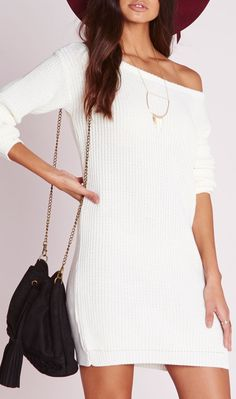 Off shoulder knitted sweater dress in cream