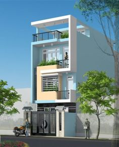 Mẫu nhà phố 3 tầng đẹp đơn giản ảnh 3 3 Storey House Design, Bungalow House Design, House Front Design, Small House Design, Modern House Design, Narrow House Designs, Latest House Designs, Modern Bungalow Exterior, Model House Plan
