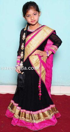 Black half Saree for kids!