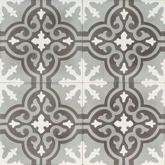 Grey and Black Flower Reproduction Tile by Jatana Interiors. Victorian Tiles, Antique Tiles, Floor Texture, Tiles Texture, Flower Reproduction, Interior Styling, Interior Decorating, Outdoor Tiles, Feature Tiles
