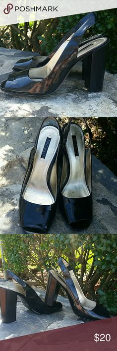NINE WEST PATTEN LEATHER SLING BACKS Terrific condition block heel great for stability when wearing high high heels.loce these but my days are over wearing high heels. Bummer!  4 inch heel Nine West Shoes Heels
